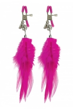 Pinces mamelons à plume - Paire de pinces à seins Fetish Fantasy Series, ornées de plumes à leur extrémité,