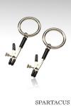 Pinces à seins Bully Ring : Paire de pinces à seins ajustables, finies par un anneau solide prêt à recevoir vos attaches.