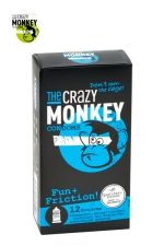 12 Préservatifs Crazy Monkey Fun & Friction - 12 préservatifs transparents dotés de picots et de nervures, pour accroitre les sensations de votre partenaire, marque Crazy Monkey.