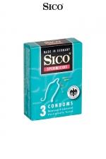 3 préservatifs Sico SPERMICIDE - 3 préservatifs haute qualité bénéficiant d'une protection supplémentaire grâce à un revêtement spermicide.