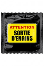 Préservatif humour - Attention Sortie D'engins - Préservatif  Attention Sortie D'engins , un préservatif personnalisé humoristique de qualité, fabriqué en France, marque Callvin.